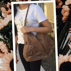 Tre Vero Leather Boho XL bag tan bohemian